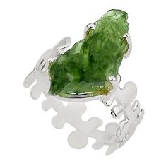 925 silver 7.24cts natural green moldavite fancy solitaire ring size 8.5 p80288