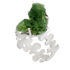 925 silver 2.41cts natural green moldavite fancy solitaire ring size 8.5 p92976