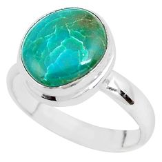 925 silver 5.38cts natural green opaline solitaire ring jewelry size 8 p40160
