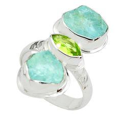 925 silver 10.81cts natural green peridot aquamarine rough ring size 7 p70920
