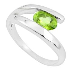 925 silver 1.57cts natural green peridot oval solitaire ring size 6 p82986