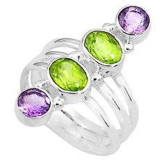 925 silver 4.38cts natural green peridot purple amethyst ring size 5.5 p77717