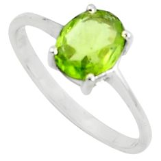 925 silver 2.13cts natural green peridot solitaire ring jewelry size 8.5 p73337
