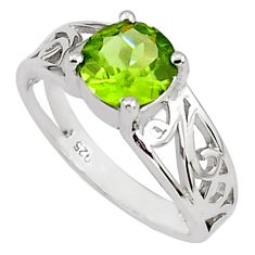 925 silver 2.92cts natural green peridot solitaire ring jewelry size 6.5 p81677