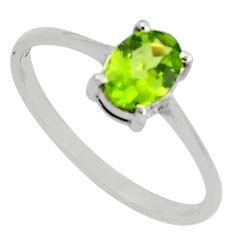 925 silver 1.51cts natural green peridot solitaire ring jewelry size 8.5 p81990
