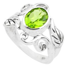 925 silver 3.28cts natural green peridot solitaire ring jewelry size 6.5 p82909