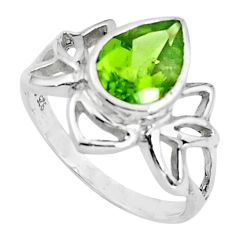 925 silver 3.11cts natural green peridot solitaire ring jewelry size 8.5 p83057
