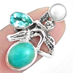 925 silver natural green peruvian amazonite angel wings fairy ring size 8 p42608