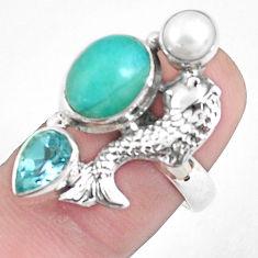 925 silver 6.20cts natural green peruvian amazonite fish ring size 7 p42618