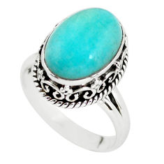 925 silver 0.26cts natural green peruvian amazonite solitaire ring size 8 p56519
