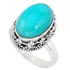 925 silver 6.57cts natural green peruvian amazonite solitaire ring size 7 p56556