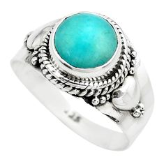 925 silver 3.50cts natural green peruvian amazonite solitaire ring size 8 p71812
