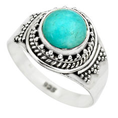 925 silver 3.23cts natural green peruvian amazonite solitaire ring size 8 p71818