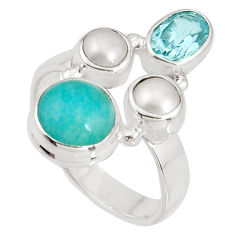 925 silver 7.04cts natural green peruvian amazonite topaz ring size 7.5 p90773