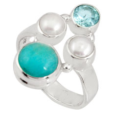 925 silver 6.85cts natural green peruvian amazonite topaz ring size 7 p90776
