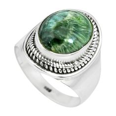 925 silver 5.53cts natural green seraphinite oval solitaire ring size 7 p70254