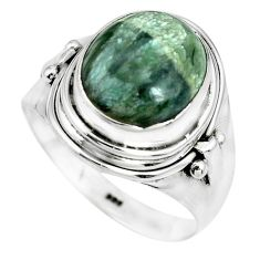 925 silver 5.12cts natural green seraphinite solitaire ring size 8.5 p70258