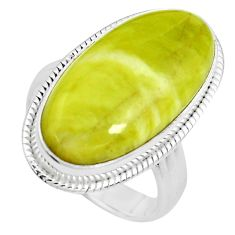 925 silver 15.39cts natural green serpentine oval solitaire ring size 8.5 p38891