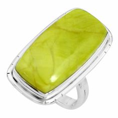 925 silver 18.47cts natural green serpentine solitaire ring size 6.5 p38897