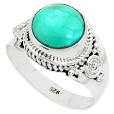 925 silver 5.16cts natural green turquoise tibetan solitaire ring size 9 p78744