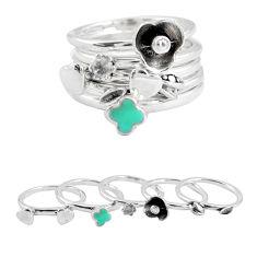 925 silver natural green turquoise topaz enamel flower 3 rings size 5.5 p48640