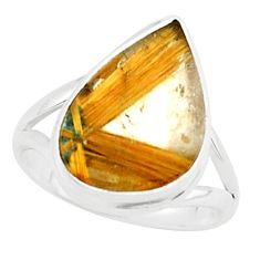925 silver 7.33cts natural half star rutile solitaire ring size 10.5 p76012