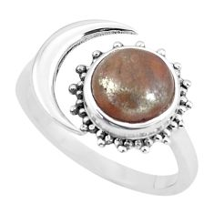 925 silver 2.92cts natural jasper red adjustable solitaire ring size 8 p61277
