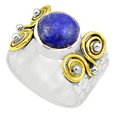 925 silver 5.47cts natural lapis lazuli 14k gold solitaire ring size 9.5 p81044