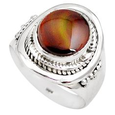 925 silver 5.52cts natural mexican fire agate solitaire ring size 8.5 p81305