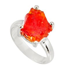 925 silver 4.87cts natural mexican fire opal fancy solitaire ring size 6 p90180