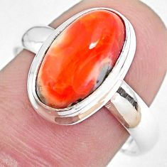 925 silver 5.33cts natural mexican fire opal oval solitaire ring size 8.5 p48287