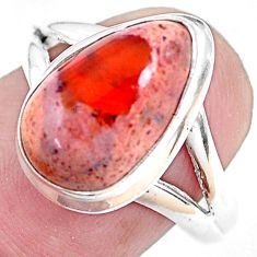 925 silver 5.80cts natural mexican fire opal pear solitaire ring size 8 p48260