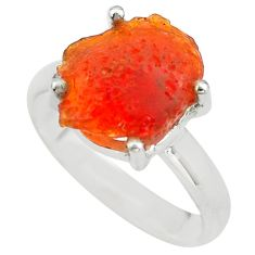 925 silver 6.22cts natural mexican fire opal solitaire ring size 8.5 p84349