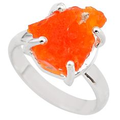 925 silver 6.43cts natural mexican fire opal solitaire ring size 7.5 p84354