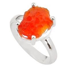 925 silver 5.52cts natural mexican fire opal solitaire ring size 8.5 p84364
