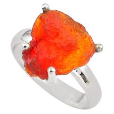 925 silver 5.84cts natural mexican fire opal solitaire ring size 6.5 p84396