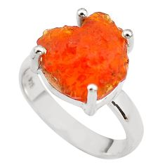 925 silver 5.84cts natural mexican fire opal solitaire ring size 6.5 p84404