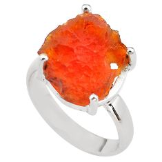 925 silver 6.82cts natural mexican fire opal solitaire ring size 7.5 p84411