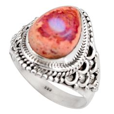 925 silver 5.53cts natural mexican fire opal solitaire ring size 8.5 p92136