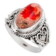 925 silver 5.95cts natural mexican fire opal solitaire ring size 8.5 p92140