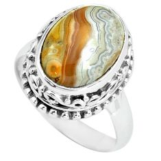 925 silver natural mexican laguna lace agate oval solitaire ring size 7 p67628