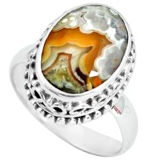 925 silver natural mexican laguna lace agate oval solitaire ring size 7.5 p67634