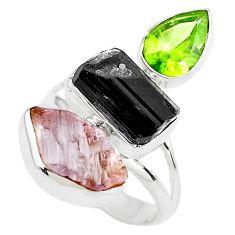 925 silver 13.24cts natural morganite rough tourmaline rough ring size 7 p79180