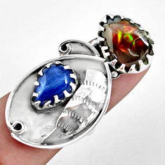925 silver 13.34cts natural multi color ammolite (canadian) ring size 7 p42470