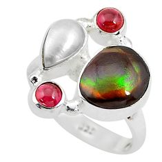 925 silver 7.97cts natural multi color ammolite (canadian) ring size 8 p52544