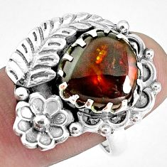 925 silver 6.32cts natural multi color ammolite solitaire ring size 7.5 p42490