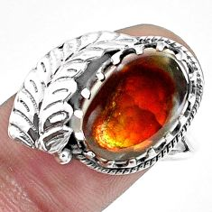 925 silver 6.83cts natural multi color ammolite solitaire ring size 8 p42493