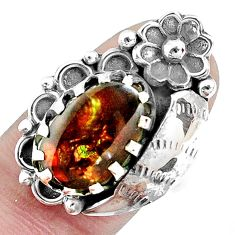 925 silver 6.20cts natural multi color ammolite solitaire ring size 7 p42498