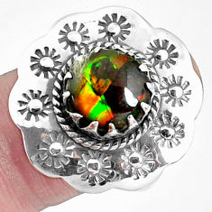 925 silver 5.95cts natural multi color ammolite solitaire ring size 8 p42506