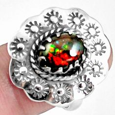 925 silver 4.38cts natural multi color ammolite solitaire ring size 7.5 p42512